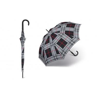 Dlouhý deštník - happy rain 30023 černá kostka