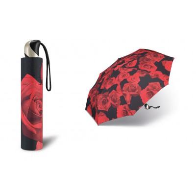 Plně automatický odlehčený deštník happy rain 34012 červená růže